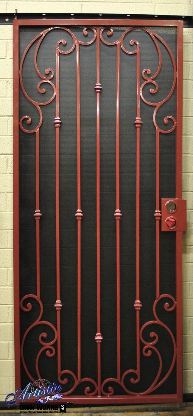 Wrought iron security door designs using gate scrolls